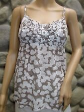 NWT I.N.C. Grey/Brown White Crystal Button Spaghetti Strap Summer Top Size S $49