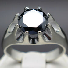 3.50cts 9.90mm Men's REAL Natural Black Diamond Ring AAA Grade & $1950 Value..