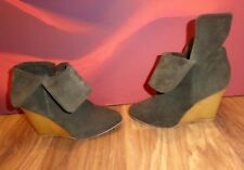 *47* ZARA KHAKI GREEN leather Real suede ankle wedge Boots UK 6 EU 39