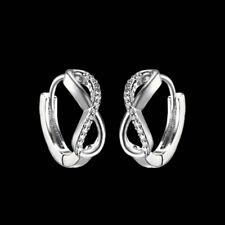 18k White Gold Gp Silver Infinity Earrings Hoop Wedding Bridal Jewellery Gift