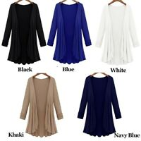 PLUS SIZE Womens Long Sleeve Cardigan Blouse Ladies Casual Jacket Tops Coat USA