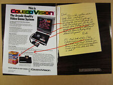 1982 Coleco ColecoVision Video Game System donkey kong screen vintage print Ad