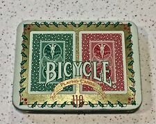 Bicycle Poker Holiday Tin Double/Two Decks Red/Green 110 Years Collector - NICE!