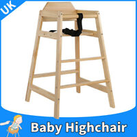 Wooden Wood Baby High Chair Stool Infant Feeding Children Toddler Highchair Seat
