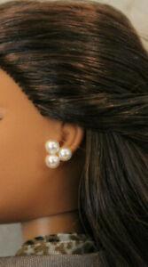 FM Jackie Kennedy triple pearl fashion doll earrings fit 11-17in Barbie Tyler