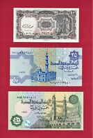 EGYPT UNC Notes 10 Piastres (P-184b), 25 Piastres (P-57h.2), & 50 Piastres P-70a