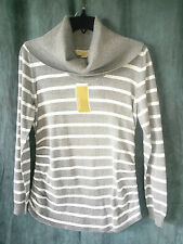 MICHAEL KORS New cowl neck sweater sz L gray white striped metallic $110