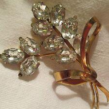Vintage Coro Sterling Gilded Flower Bouquet Crystal Rhinestone Brooch Jewelry
