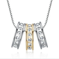 18K Gold Plated Three Lucky Rings CZ Pendant Necklace 186