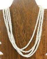 "Vintage Japan White Opaque Milk Glass Bead Multi Strand Disk Beaded 17"" Necklace"