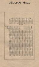 AEOLIAN HALL. Vintage seating plan. London. Concert Hall. New Bond Street 1936