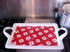 Red & White Checked Ceramic Serving Tray ~ Picnic And Barbecue