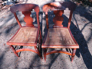Antique  tiger maple & birds eye maple chairs