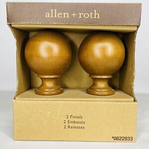 Allen + Roth Set Of 2 Tobacco Finish Drapery Curtain Rod Finials 0622933 NEW