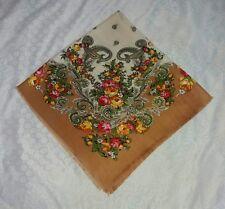 Beautiful vintage Shawl Pavlovo Posad Design Floral scarf Unique style Russian