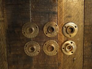 Vintage Brass Door Knob Back Plates Eastlake