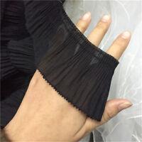 2yds Chiffon Elastic Ruffle Trim Pleated Lace Ribbon Collar Skirt 2.56'' Width