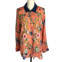 Aratta Silent Journey Embroidered Floral Coral Button Up Blouse Top Womens Large