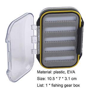 Plastic Fly/Ice Fishing Jig Box Double Sided w/Foam Hook Storage  Bait Lure