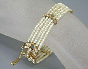 Vintage Signed Ciner Delicate Gold Rhinestone 5 Strand Pearl Bracelet
