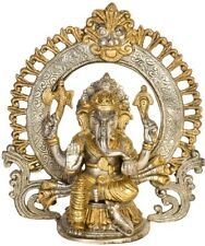 "JAI God Ganesha Blessed Arch Statue 8.9"" Golden Silver Brass Hindu Figure 2.4 KG"