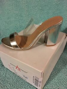 ashley stewart Silver Size 10w Heal Clear Strap