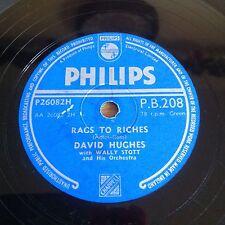 "David Hughes Rags To Riches / Ebb Tide (Philips P.B.208) VG+ 10"" 78rpm Shellac"