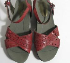 Womens Red Leather Hush Puppies Semi Wedge Ankle Strap Comfort Sandals 7M