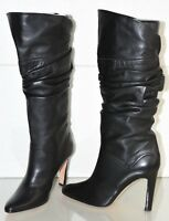 $1710 NEW Manolo Blahnik Gathered SOFT Leather Boots Black Heels Shoes 39.5
