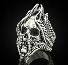 Tentacles Skull 925 Sterling Silver Head Men's Biker Rider Ring birthday Gift