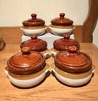 Set Of 6! French Onion Soup Bowls w/ Lids Chili Casserole Crocks Vintage