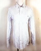 euc Lacoste men's White Blue Striped Button Down Dress Shirt sz 40