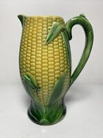 Vintage Majolica Pitcher with Corn Motif