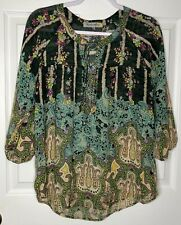 Figueroa Flower Medium Floral Green Sheer Embellished Shirt Top Blouse M