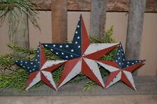 "Set of 3 12"" 8"" American Flag Barn Stars Metal Tin Primitive Country"