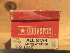 Vintage 1970s Converse All Star Mens White Hi BOX ONLY Size 8 USA Black Tab