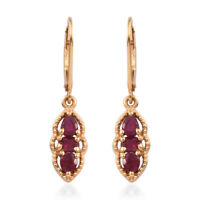 Fissure Filled Ruby Dangle Drop Earrings 925 Sterling Silver Yellow Gold Ct 1.5