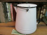 COFFEE POT BLACK WHITE enamel ware boiler 10 QUART original mid 1900'S  VINTAGE