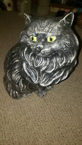 "Mid Century Vintage Ceramic Cat Persian Kitten Statuette Figurine 14"" Tall"