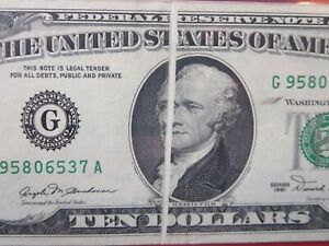 $10 1981 federal reserve note graded error:  gutter fold  26-028