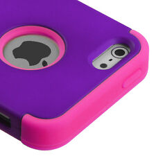 for iPhone SE 5S Purple Pink Hybrid Armor Impact Hard & Soft Silicone Case Cover