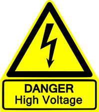 This is a Danger HIGH Voltage sticker or vinyl cut decal, glossy yellow.
