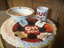 Disney Mickey Mouse 3 Piece China Plate, Bowl, Mug.  OH BOY!  HUG ME.