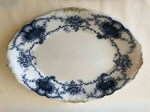 "Antique J & G Meakin Louvre Flow Blue Large Serving Platter, 17 1/2"" x 13 1/2"""