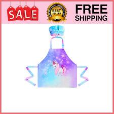 Kids Apron Chef Hat Set, Girls Rainbow Unicorn Apron with Adjustable Neck Strap