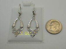 14k Solid White Gold Dainty Lever Back Dangle Earrings Style 620 Made In USA