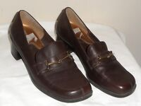 Aerosoles A2 Tear Drop Womens Brown Leather Stacked Heel Loafer NWOB - Size 8M