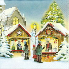 4x Single Lunch Party Paper Napkins for Decoupage Decopatch Christmas Market