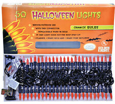 HALLOWEEN ORANGE STRING 50 LIGHT SET 9 FT PROP DECORATION HAUNTED HOUSE