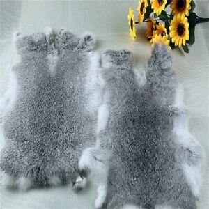 2pcs Steel Gray High Grade Real Rabbit Fur Pelt Animal Skin For Pets Clothes US